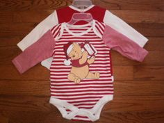 NEW! BABY infant 0-3 mo UNISEX DISNEY set of 2 SHIRTS L/S snap-crotch CHRISTMAS