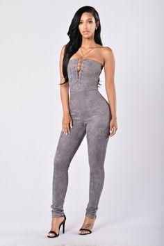 07977dc394f Available in Charcoal and Nude - Faux Suede Jumpsuit - Lace Up Front -  Strapless