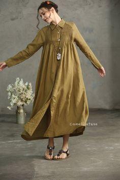 Golden Linen Shirt Dress button down linen dress Drop Linen Tunic Dress, Linen Dresses, Maxi Dresses, Oversized Dress, Button Dress, Designer Dresses, Vintage Outfits, Fashion Dresses, Drop