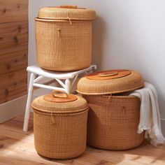 Set of 3 Rattan Baskets with Lids by Twos Company