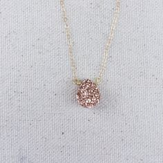 Rose gold teardrop druzy on 18 inch, 14k gold filled or sterling silver chain