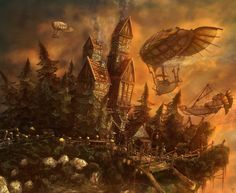 The Outpost Picture  (3d, fantasy, house, airships, forest)