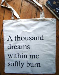 Book Bag - Quote by Arthur Rimbaud, born 20 October
