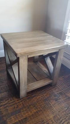 """The """"Farmhouse"""" end table in Special Driftwood by Farmhouse End Tables, Diy End Tables, Farmhouse Furniture, Rustic Furniture, Diy Furniture, Wood End Tables, Side Tables, Coffee Tables, Western Furniture"""