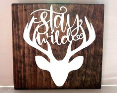 Stay wild deer sign, nursery sign, kids room sign, baby shower gift, arrow sign, rustic kids decor  #Promotion… #PaidAd #ad #affiliatelink