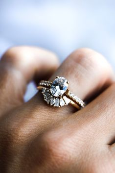 This Oval shaped diamond ring is looking beautiful in our Oval Cut Gardenia Setting. Paired with our Sunflower Band, this is a real showstopper. Handmade Engagement Rings, Diamond Engagement Rings, Oval Diamond, Sapphire, Gemstones, Band, Beautiful, Jewelry, Sash