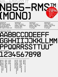 NB-55RMS™, (Mono) Monospace, Composition, Fonts, Typography, Type, New Construction, Designer Fonts, Letterpress, Letterpress Printing