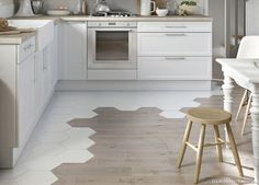 Kitchen floor tile - wood Tile Transition To Hardwood Decor, Hexagon Tiles, Kitchen Flooring, Interior, Tile Design, House Interior, Flooring, Kitchen Tiles, Flooring Trends