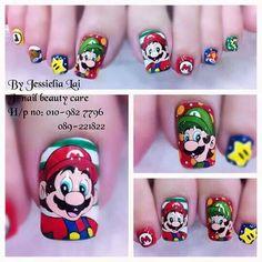 Marios Nail Art Dessin, Anime Nails, Cute Gel Nails, Hello Kitty Nails, Korean Nails, Cat Nails, Disney Nails, Long Acrylic Nails, Learn Art