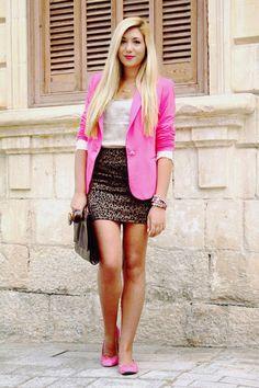 Look pink blazer + animal print