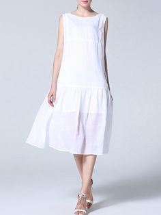 Casual Sleeveless Asymmetric Floral Midi Dress