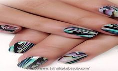 Water bubble nail art picture nail art design pinterest water marble nail art color combinations prinsesfo Image collections