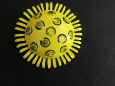 Vintage Brooch Pin LARGE Retro Funky Metal Flower 3D Yellow Alan J. Mod MCM