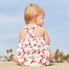 Ready for her first clambake. Shop the super-cute lobster-print outfit for your little one now.