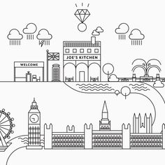 Wedding tableau with London illustrated map: Big Ben, Westminster Abbey, Kensington Gardens, Joe's kitchen Graphic Design & Wedding Stationery by Paffi www. London Illustration, Westminster Abbey, Wedding Stationery, Big Ben, Real Weddings, Journey, Gardens, Graphic Design, Map
