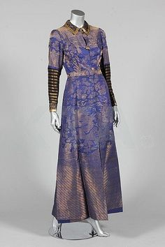 A Chinese brocaded silk dragon robe, jifu made into a lady's evening coat in the 1930s.