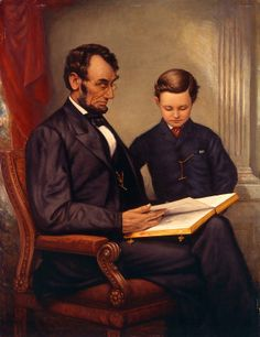 """Franklin C. Courter, """"Lincoln and His Son, Tad,"""" c. 1929, oil on hardboard"""