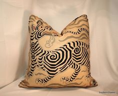 BOTH SIDES - ONE High End Clarence House Tibet Print Antique  Fully Lined Pillow Cover with Self Cording on Etsy, $70.00