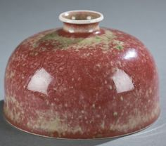 "Chinese peachbloom red porcelain waterpot. Talbai Zun form. Late Qing Dynasty after Kangxi style. Under-glazed blue mark on the bottom. Qing Dynasty, Kangxi period. H 3 1/2"" x 5 1/8"" dia."