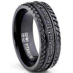 Men's Black Titanium Pave Set Wedding Band, Engagement Eternity ring, Chevron design, BK CZ >>> Learn more by visiting the image link. Mens Rings Online, Fashion Bracelets, Fashion Jewelry, Men's Jewelry Store, Jewelry Rings, Jewelry Watches, Man Jewelry, Gold Jewellery, Style Masculin