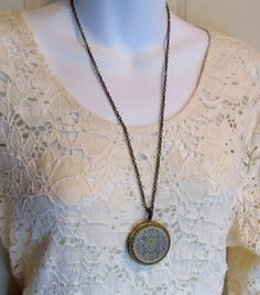 Locket, Large Vintage Antique Style in Brass on Extra Long Chain, 30 Inches. $24.50, via Etsy.