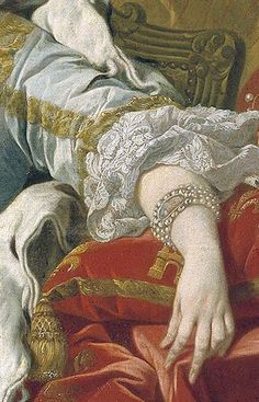 four strand pearl bracelet set with portrait miniature, elbow length sleeves, lace engageantes, detail from 1743 portrait Felipe V and Isabel de Farnesio by (probably) Louis Michel van Loo.