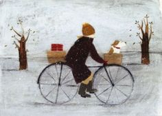 Christmas Card - Special Delivery by Hannah Cole. Xmas card distributed by Art Cove Cards UK Art And Illustration, Illustrations, Bicycle Illustration, Bicycle Painting, Winter Art, Naive Art, Art For Art Sake, Canvas Artwork, Dog Art