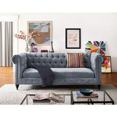 TOV Furniture Hanny Grey Velvet Sofa ($1,410) ❤ liked on Polyvore featuring home, furniture, sofas, grey, gray sofa, oversized couches, grey furniture, gray bed and grey couch