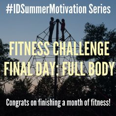 You made it! Today is the last day of the #IDSummerMotivation Fitness Challenge. Your #workout is to perform three sets of five of your favorite moves that you've learned throughout the month. Then show us a photo/video and list the exercises you loved. This way you can see how easy it is to put together your own fast home workouts going forward for those times when you can't get to a gym. #betteryou Beginners: Do each exercise for 30 seconds. Experienced: Do each exercise for one minute.