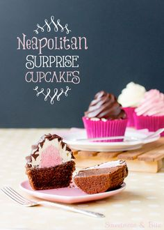 NEAPOLITAN Surprise Cupcakes. Light chocolate cupcakes, topped with strawberry vanilla Swiss meringue buttercreams & dipped in a gorgeous shiny dark chocolate shell #awesome #recipe http://thecupcakedailyblog.com/neapolitan-surprise-cupcakes/