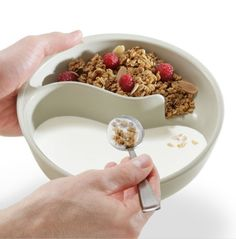 A cereal eater would appreciate the ingenious Obol, the never-soggy cereal bowl ($20).