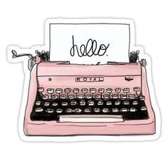 Pink Old Typewriter Illustration (image only) Image Swag, Image Tumblr, Retro Typewriter, Tumblr Stickers, Digital Print, Digital Papers, Digital Scrapbooking, Laptop Stickers, Digital Illustration