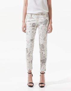 Satin Trousers with Flowers Printed Over Cold Dye