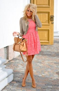 This dress works for this women, because   she has a summer skin tone, which means that she has light eyes and she tans   easy. The dress is an overall pink, which can be a little to much, but with the   grey sweater she has, it accents the dress and makes it calming and seem   sweet.