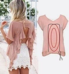 32 Trendy Ideas For Diy Ropa Reciclada Camisetas Diy Clothing, Sewing Clothes, Clothing Patterns, Sewing Patterns, Old T Shirts, Cut Shirts, Cutting Shirts, Diy Fashion, Ideias Fashion