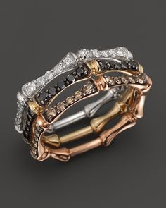 Brown Diamond Stackable Bamboo Ring in 14K Rose Gold, .30 ct. t.w. - Fine Jewelry - Bloomingdale's LOVE