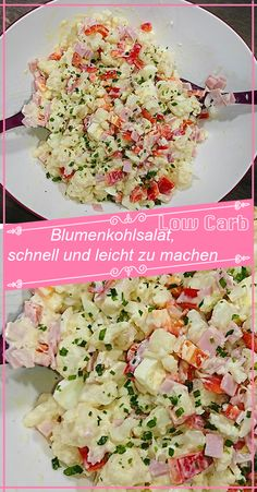 Cauliflower salad, quick and easy to make - Ingredients: 1 head of cauliflower 100 g ham 1 paprika 1 onion 50 g Emmentaler ½ cup sour cream 1 - Appetizer Recipes, Salad Recipes, Diet Recipes, Vegetarian Recipes, Healthy Recipes, Quick Recipes, Cauliflower Salad, Cauliflower Recipes, Greek Recipes