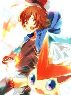 Pokemon Trainer Hilbert and Victini Pokemon Fan Art, New Pokemon, Pokemon Games, Cute Pokemon, Mythical Pokemon, Black Pokemon, Pokemon Special, Anime Characters, Kawaii