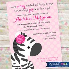 Girl Baby Shower, Zebra Invite, Invitation with Zebra, Girly Safari Baby Shower, Pink and Black, DIY Printable Invite by DreamlikeMagic on Etsy