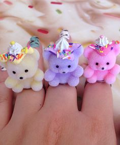 Fairy Kei Pastel Teddy Bear Sundae Rings by MelsKawaiiShop on Etsy https://www.etsy.com/listing/195763085/fairy-kei-pastel-teddy-bear-sundae-rings