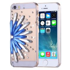 [$1.27] Fevelove for iPhone SE & 5s & 5 Diamond Encrusted Blue and White Flower Pattern PC Protective Case Back Cover