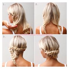Todays hair tutorial is a Lacebraided Updo on @idamarieisaksson. This is another easy hairstyle especially nice on medium length hair. 1. Make a middle part then braid a lacebraid which means you only incorporate hair from one side. The braid should not be braided tight to the head. 2. Do the same on the other side. 3. Secure the braids with bobby pins at the nape of the neck overlapping each other.