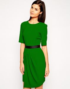 Image 1 of ASOS Pencil Dress in Crepe with Contrast Waist