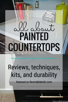 Learn All About How Well Painted Countertops Hold Up And Which Kits Are Worth Using Featured On Remodelaholic.com Diy Garden Furniture, Diy Garden Decor, Diy On A Budget, Decorating On A Budget, Spray Paint Countertops, Diy Kitchen Decor, Kitchen Design, Diy Home Improvement, Diy Painting