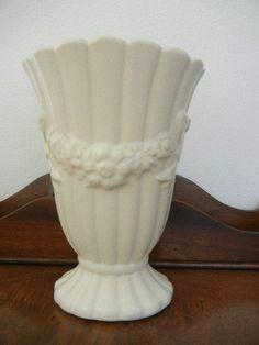 Vintage Art Pottery Vase Marked USA Flowers Bows Scalloped Off White Satin Glaze