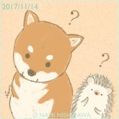 1332 わかってんだかわかってないんだかわからない柴犬 Shiba Inu thinking what you said Hedgehog Drawing, Dog Logo, Art Hoe, Kawaii Art, Illustrations And Posters, Tile Art, Shiba Inu, Pretty Pictures, Animal Drawings