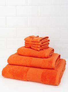 Essential Studio Bright Orange Pure Cotton Towel Range