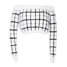 Rodarte White Metallic Plaid Angora Cropped Sweater ($2,070) ❤ liked on Polyvore featuring tops, sweaters, white off the shoulder sweater, white pullover sweater, pullover sweater, white cropped sweater i white angora sweater