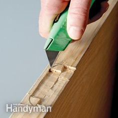 Replacing a door in an existing door frame is easier and much cheaper than pulling out the trim and frame and installing a prehung door, because you have th Diy Garage Door, Diy Door, Carpentry And Joinery, Carpentry Skills, Hollow Core Doors, Prehung Doors, Diy Workbench, Window Repair, Door Makeover