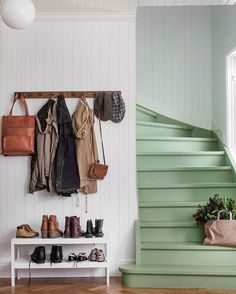 The Best 24 Painted Stairs Ideas for Your New Home Green stairs, functional entryway, coat rack and shoe table. But mostly I love those stairs!Green stairs, functional entryway, coat rack and shoe table. But mostly I love those stairs!